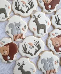 Elegant Woodland Animal Cookies with Silver Fox One Dozen