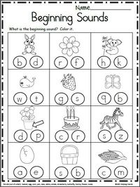 Free Beginning Sounds Worksheets. Look at each each picture and color the beginning sound. Kindergarten and preschool students can independently complete this w