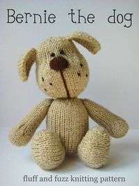 Bernie the dog knitted toy by fluff and fuzz, designs by Amanda Berry, via Flickr