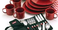 Coleman 25-piece Enamelware Dining Set with Stainless Steel Flatware, $19.88