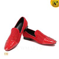 Men Leather Shoes | Red Leather Spike Loafers CW719100 | CWMALLS.COM