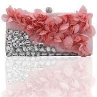 Direct Selling Top Women Floral Hasp Diamond Satin Flower Evening Clutch Bag $17.95