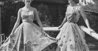 Disneyland Frontier Fashion Show 1950s... both of these skirts are great! the one on the left is embroidered cowboys, the one on the right is Native American designs and feathers.