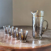 1960s Vintage Glassware Set Ombre Fade Vintage Barware Smoke Gold Mid Century Modern Martini Set (5) Retro Cocktail Glasses & Pitcher $109.99