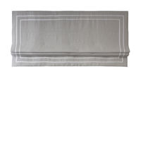 "Relaxed Linen Roman Shade "" Tuscany Prism"" with double White Ribbon Border"", 4 sides border, with chain mechanism, Custom made roman shade $305.00"