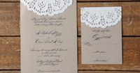 invitation idea... we could do a light purple piece of paper with the white doily.