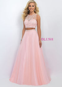 2016 Fancy Beaded Sexy Pink Two Piece Tulle Gown Trendy