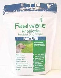 Feelwells Probiotic Healthy Mature Dog Treats Feelwells Probiotic Healthy Mature Dog Treats are highly palatable totally natural hypo-allergenic and wheat-gluten free. These dog treats are suitable for all mature dogs over 7 and large breeds http://www.co...