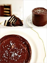 Recently, I have loved making cakes that are small in diameter but stacked tall with layer after layer. This one, a Salted Caramel Chocolate Fudge Cake, is cert