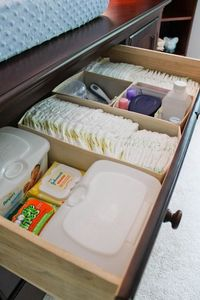 """Classy Clutter: 10 DIY ideas for the """"Nesting"""" mommy to be! Nice organization for changing table"""