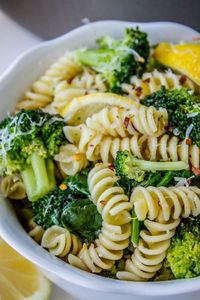 This easy broccoli pasta recipe is great for a weeknight! It's healthy. Garlic, lemon, and red pepper make it tasty. One of my favorite easy pasta recipes!