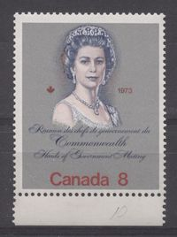 "Canada #620i (SG#759a) 8c Multicoloured Queen Elizabeth II 1973 Royal Visit Issue Scarce ""Hibrite"" Paper Type 1 F-65 NH $3.74"