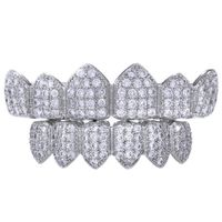 Premium Men's Silver Plated Cubic Zirconia Stones Iced Out Top and Bottom CZ Teeth Hip Hop Bling Grillz £29.95