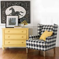 Vintage Country. Ethan Allen New Country chest, Parker chair and J. Murphy Blacksmith Sign wall decor.