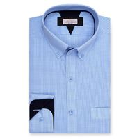 Create a stylish look with this Oxford Men sky blue and white designer shirt. Woven in Egyptian cotton & polyester. this shirt has a fine finish.  �€� 80%Cotton & 20%Polyester  �€� Classic collar  �€� French cuff ...