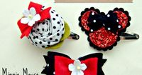 - A vintage swiss dot fabric rosette, with red bow and millinery flower detail - A polka dot & red double ruffle bow with millinery flower detail - A red glitter Minnie Mouse ears with polka dot bow All three hair clips are attached to a 40mm silver s...