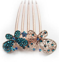 Blue Gold Crystal Beaded Butterfly Shaped Wedding Prom Hair Accessories Comb