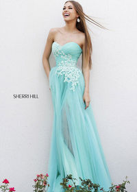 Blue/Green Sherri Hill 11114 Strapless Log Prom Dresses Cheap