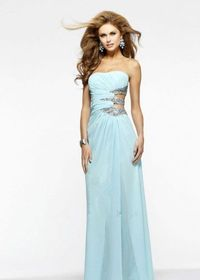 Faviana 7304 Aqua Long Sequin Cutout Prom Dresses