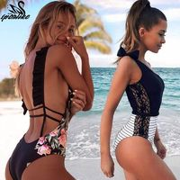 Sexy One Piece Swimsuit Women Summer Beachwear Lace One Shoulder Swimwear Bathing Suits Bodysuit Monokini Swimsuit $15.00