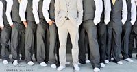 Another all gray suits wedding, this time with the groom in light and the men in dark. I wonder which one my groom will like more.