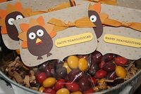 Turkey Treats Thanksgiving bags! (could fill with candy corn or M's)