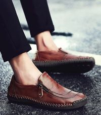 Breathable Waterproof Leather Moccasins Casual Men Loafers Shoes