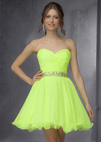 Mori Lee 9281 Neon Lime Sparkly Beaded Prom Dress