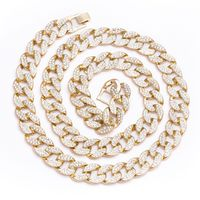 """MEN'S 2 ROW ICED OUT GOLD PLATED 30"""" 16MM CHUNKY CUBAN LINK HIP HOP BLING CHAIN NECKLACE  Special Features: 2-row iced out chunky cuban link, Closure: Fold Over Style Clasp Dimensions: Length : 30 inches, Width : 16mm"""