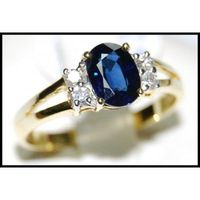 Genuine Blue Sapphire Diamond 18K Yellow Gold Solitaire Ring [RS0081]