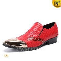 CWMALLS® Mens Red Embossed Leather Dress Loafers CW708101[Patented Product, Custom Made Service]