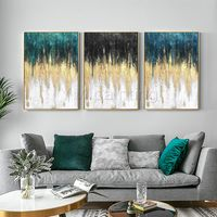 Set of 3 wall art Gold art Abstract painting acrylic paintings on canvas original framed wall art pictures blue painting cuadros abstractos $163.53