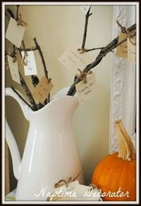 New Thanks Giving Tradition-Thankful Tree. go outside, grab some sticks (which you can imagine were at no shortage due to the storm), and stick them in a pitcher. You could use any pitcher you have, or a large glass/vase/anything. cut out natural ...