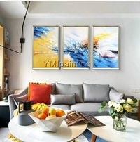 Abstract painting acrylic Navy Blue and yellow original art paintings on canvas extra large 3 piece wall art Home Decor Cuadros abstractos $163.53