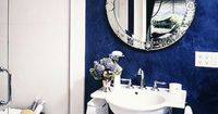 I miss my navy powder room already!! I may do it again in the new house! silver, white, and deep deep blue!
