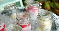 Great way to serve homemade ice cream...in mason jars in a large tub of ice.
