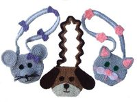 Crochet Pattern Whimsical Purses Cat Dog and Mouse.