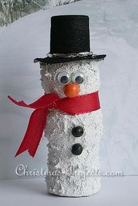 Wine Cork Snowman...adapt this and turn it into an ornament use glue/shaving cream mix to make it puffy snow?