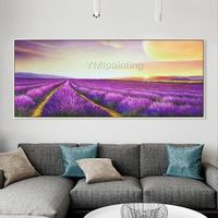 Acrylic Painting on Canvas lavender extra Large Purple the sunset Wall Art Pictures for living room Dinning Hand Painted Original floral Art $149.00