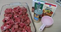 "No Peek Beef Tips 2 lb. - Stew Meat, 1 - 10.5 oz can cream of mushroom 1 �€"" packet brown gravy mix 1 - packet lipton dry onion soup mix 1 �€"" small can mushrooms 1 - cup water Mix all ingredients and pour over the meat"