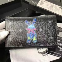 MCM Rabbit Visetos Trifold Leather Short Wallet In Black