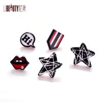UBEAUTY Red lip stud earrings stars stud earrings hollow ring stud for women jewelry Multi-color combination ear nail $3.80