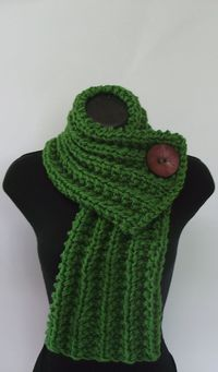 "Add large button to ""too short"" knit scarves that I never wear to make a cowl wrap sort of like this picture... except looser, on the shoulders."