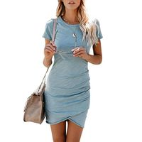 SEXY WOMEN RUCHED SHIRT DRESS SOLID COLOR O NECK SHORT SLEEVE IRREGULAR HEM PARTY DRESS NIGHT CLUBWEAR