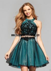 Faviana 7875 Black Peppermint sweet and sporty two piece ensemble Homecoming Dress