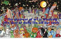 Cartoon city art quote
