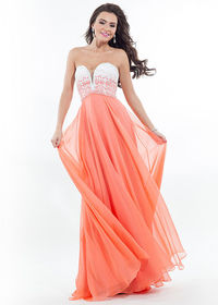 Strapless Colorful Ombre Beaded Bodice White Tangerine Evening Dress