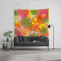 Tropical 60's Hippie Flowers Wall Tapestry.
