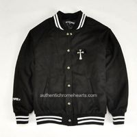 Black Leather Sacred Crosses Black Men's Jacket By Chrome Hearts