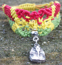 Handmade Extendable Waxed Cotton Cords Rasta Macrame Bracelet With Tibetan Silver Pharaoh Charm £6.99